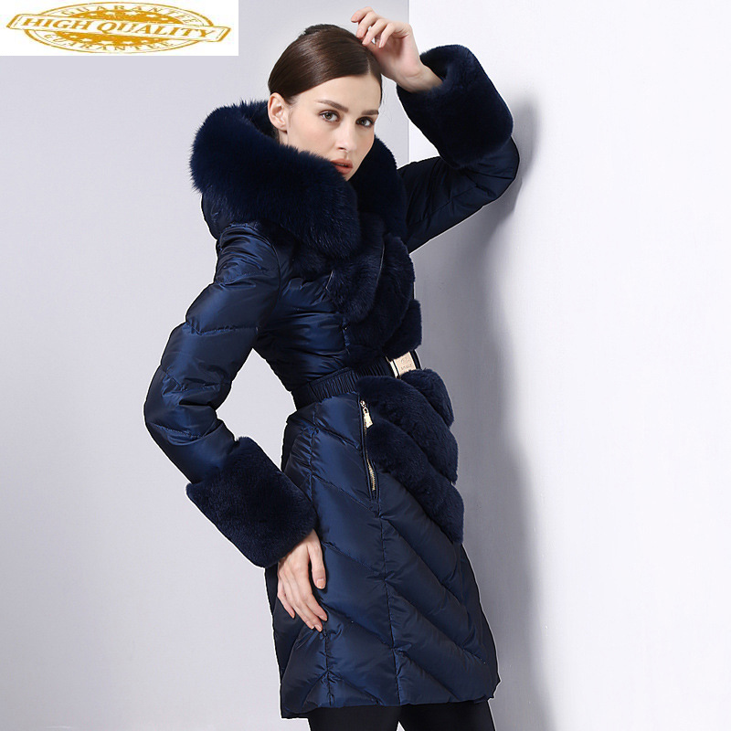 2020 Women's Down Jacket Hooded Winter Coat Women Real Fox Fur Collar Long Puffer Jacket Thick Warm Casacas Para Mujer KJ2605