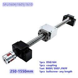Zestaw SFU1605: 16mm walcowana śruba kulowa C7 z obróbką końcową + 1605 nakrętka kulkowa + osłona na nakrętki + wspornik końcowy BK/BF12 + łącznik RM1605 w Prowadnice liniowe od Majsterkowanie na