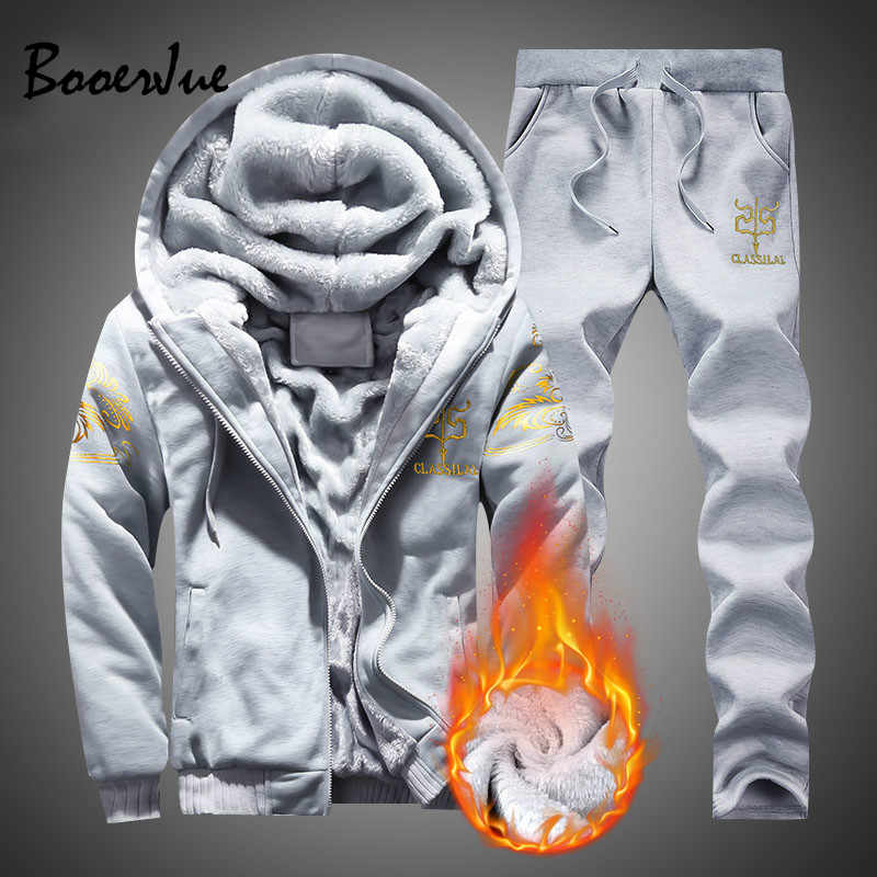 Mens Fleece Hoodies Tracksuit 2019 Winter Casual Hooded Warm Sweatshirts Male Thicken 2PC Jacket+Pant Suit Men Moleton Masculino