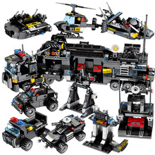 695pcs 8in1 Military Swat Command Vehicle Building Blocks City Police Figures Weapon Trucks Toys For Children gift sembo city police trucks military trunk satellite communication equipment vehicle building blocks educational toys for children