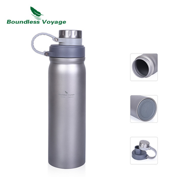Boundless Voyage Titanium Bottle with Leak Proof Lid Outdoor Camping Hiking Sports Water Bottle Soup Tea Drinkware 1000ml
