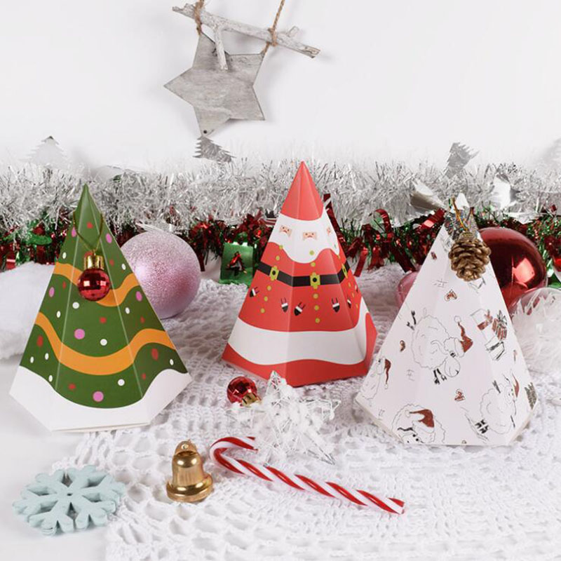 50pcs New Christmas Paper Gift Box Tree/Santa Chocolate Candy Bag Packaging Decorations for Home