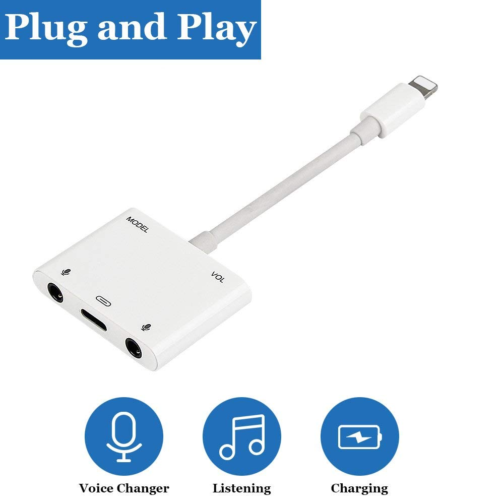 Karaoke Microphone Voice Adapter For Lightning To Voice Beauty Audio Charging Adapter 3.5mm Earphone Jack Cable For IPhone X 8 7