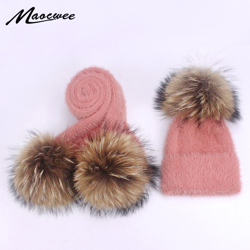 Children Two-piece Scarf Hat Set Real Fur Pom Pom Winter Female Warm Wool Beanie Knitted Soft Solid Elasticity Nature Fur