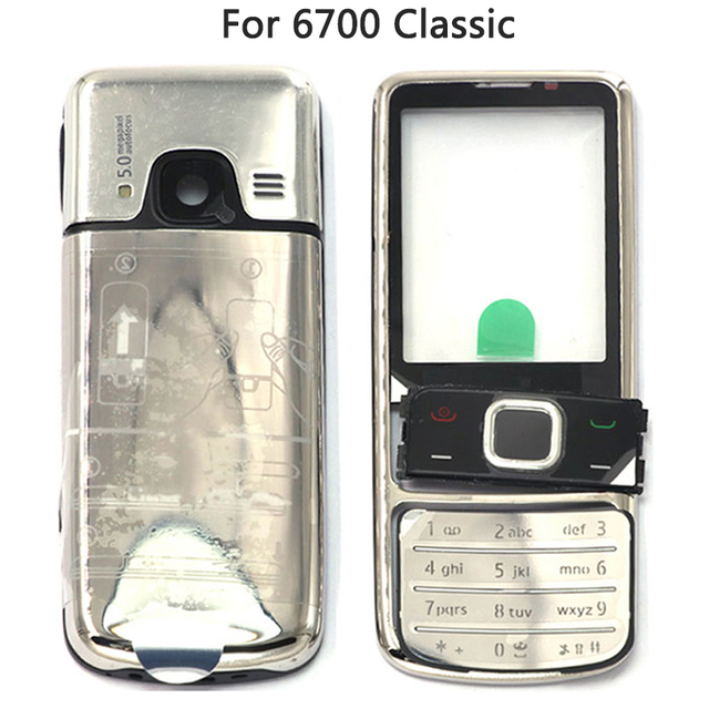 New 6700 Full Housing Case For Nokia 6700 Classic 6700C Rear Metal Battery Cover Front Middle Frame Plate Back Cover