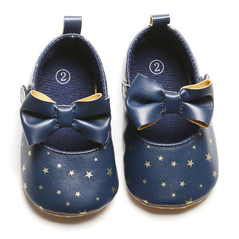 Newborn Baby Girl Star Print Sneakers Casual Shoes Infant PU Bow Little Girls Princess Sequin Stars Toddler Leather Shoes 0-18Ms