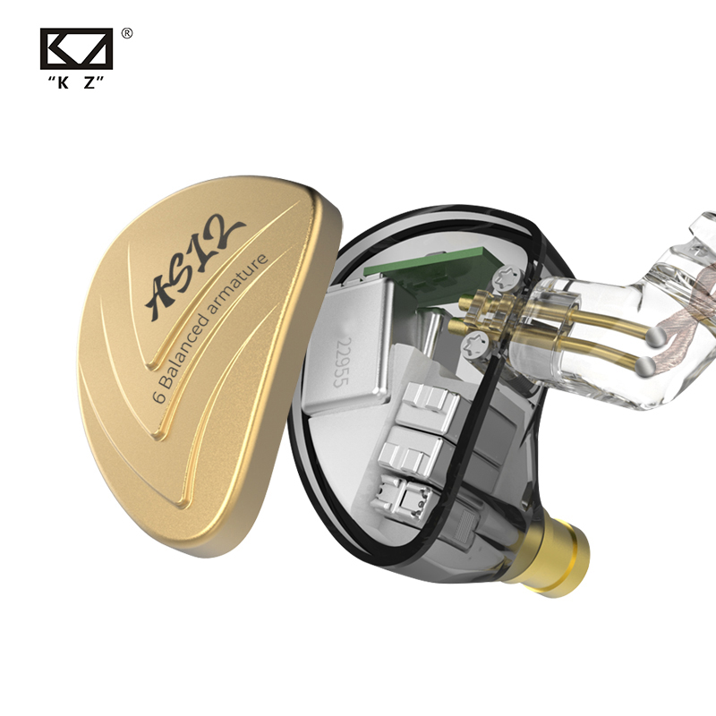 KZ AS12 Earbuds 12BA Balanced Armature Drives HIFI Bass Sport In Ear Monitor Headset Noise Cancelling EarbudsIn Earphones