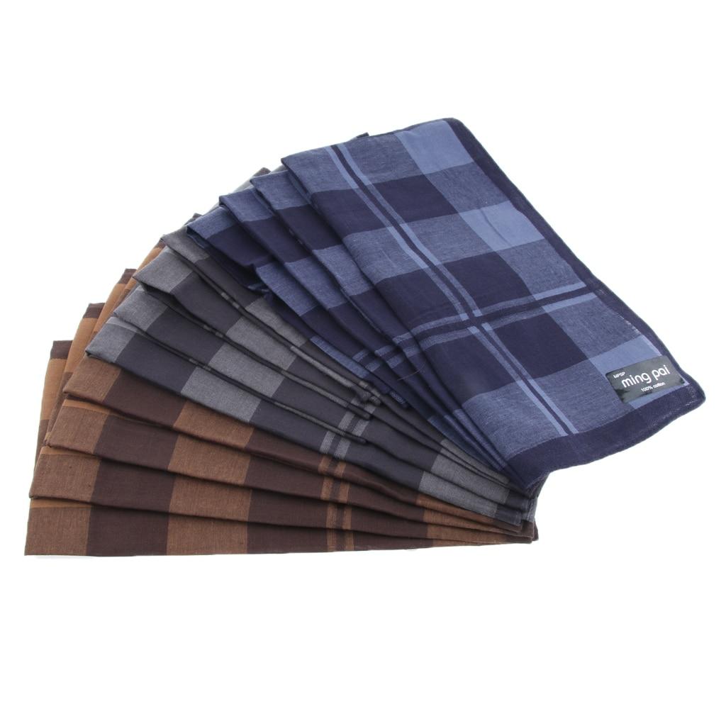 12pcs 100% Cotton Men's Plaid Pocket Handkerchief Pocket Square Hankies 40x40cm