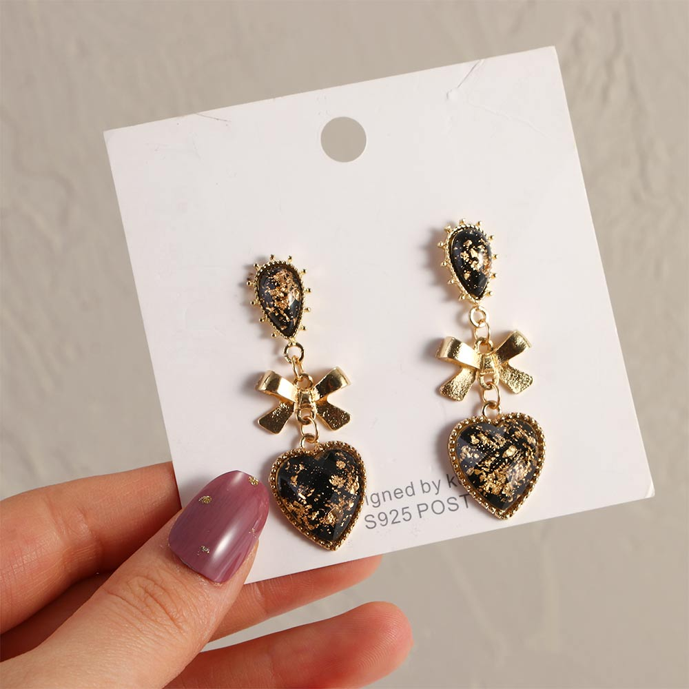 Bowknot Heart Resin Earrings Korean Classic Style Golden Peach Heart Stud Earrings For Woman Jewelry Valentine's Day present