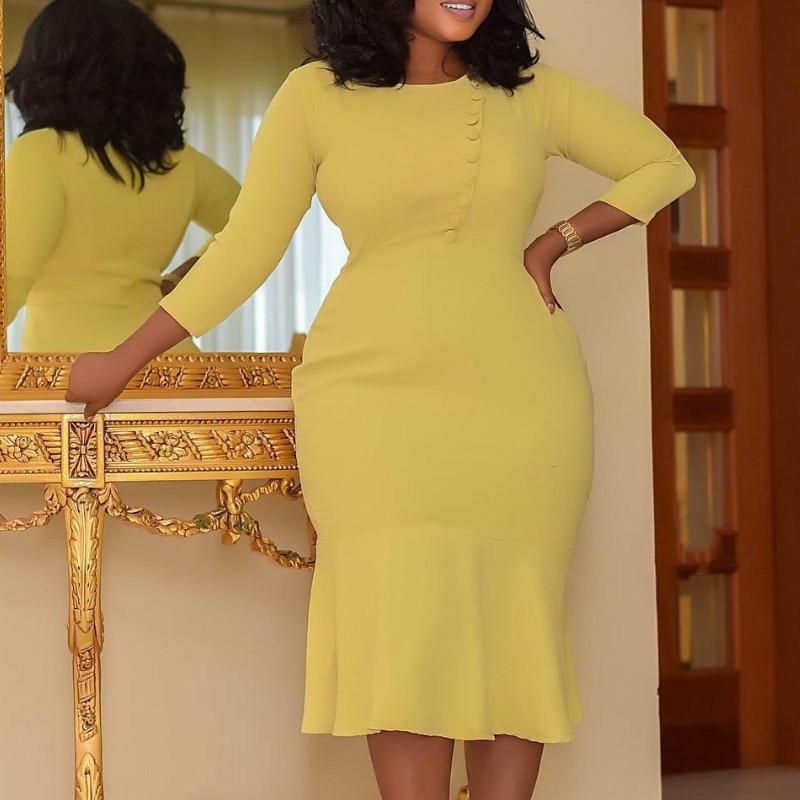 Vestido de oficina elegante para mujer, Moda Africana de talla grande, liso con clase, modestos Vestidos femeninos, amarillo, naranja, elástico, Nwe