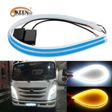 2pcs 24V Truck DRL Auto Led Daytime Running Lights Turn Signal Strip Car Light Accessories Brake Side Headlight