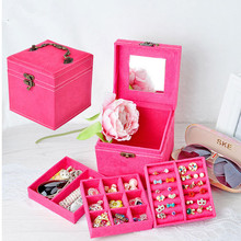 Korean Style Edition Of Rabbit Hair Three Layers Deer Flannel Jewelry Box/Jewelry Case/Storage Velvet Box Many Colors Optional