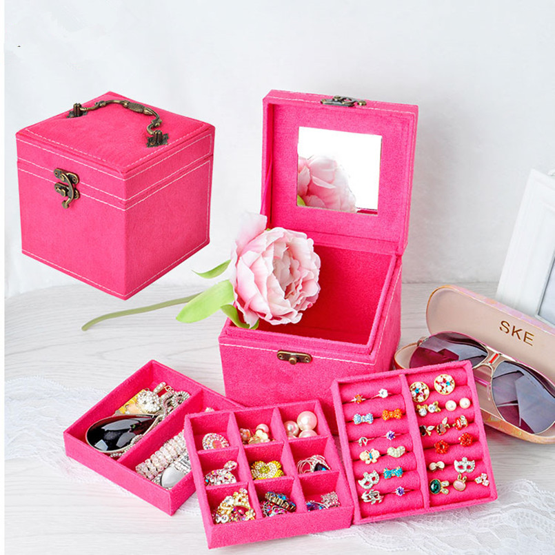 Korean Style Edition Of Rabbit Hair Three Layers Deer Flannel Jewelry Box/Jewelry Case/Storage Velvet Box Ten Colors Optional