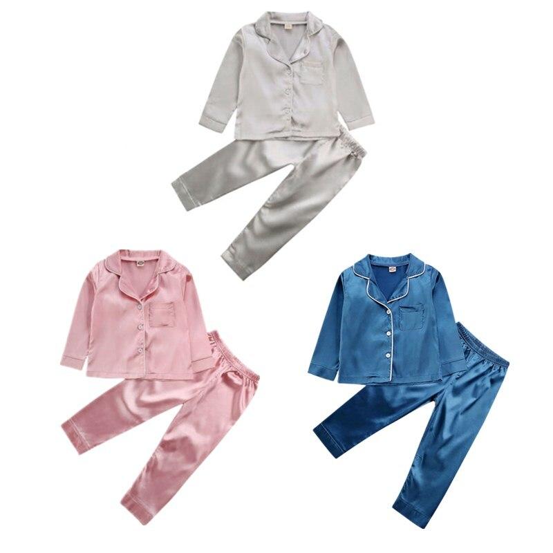 1-7Years Toddler Baby Kids Girls Satin Pajamas Set, Long Sleeve Button-Down Sleepwear PJs