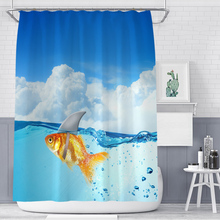 Cartoon goldfish polyester printing bathroom shower curtain bathroom partition curtain waterproof and mildew comes with hook