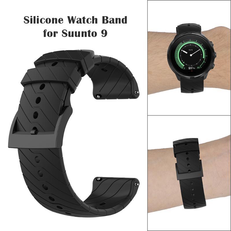 Soft Silicone Sport Band For Wristband Bracelet Watch Strap W/Buckle For Suunto 9/9 Baro Wrist Bracelet Strap