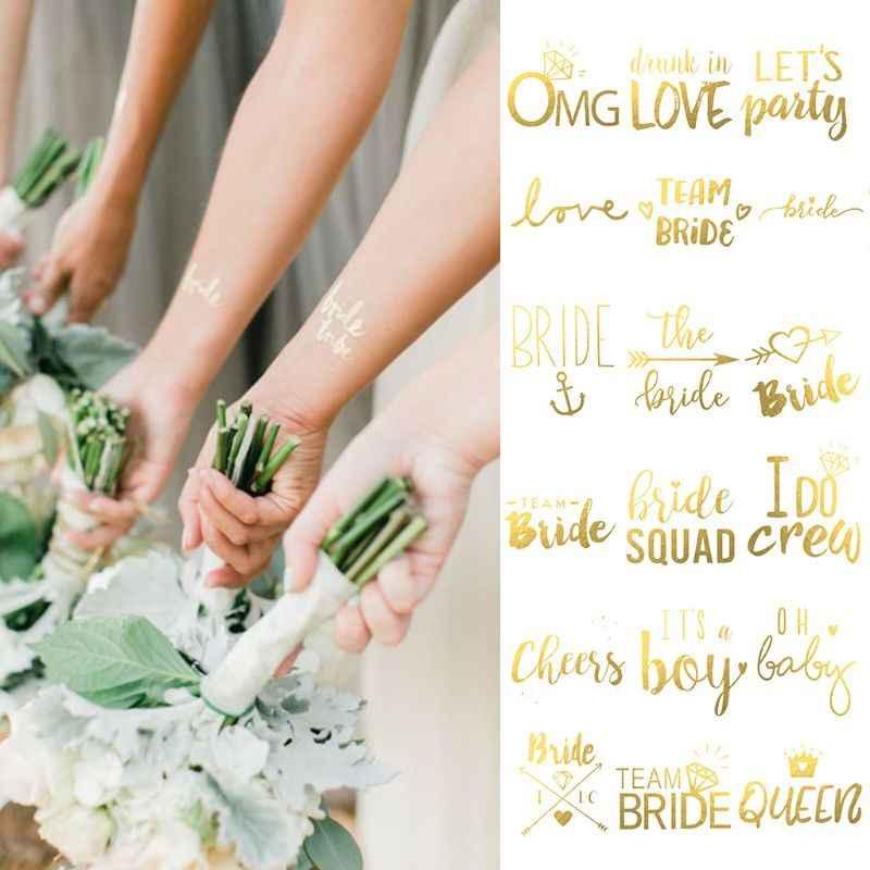 55 × 55 ミリメートルブライダルチーム花嫁介添人メタリックゴールデン一時的なタトゥーステッカー編ナイト独身パーティー結婚式の装飾用品