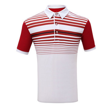 Pgm Children Boys Short Sleeved Golf T-Shirt Summer Breathable Turn Down Collar Sports Shirts Teen Striped Golf Tops AA51873
