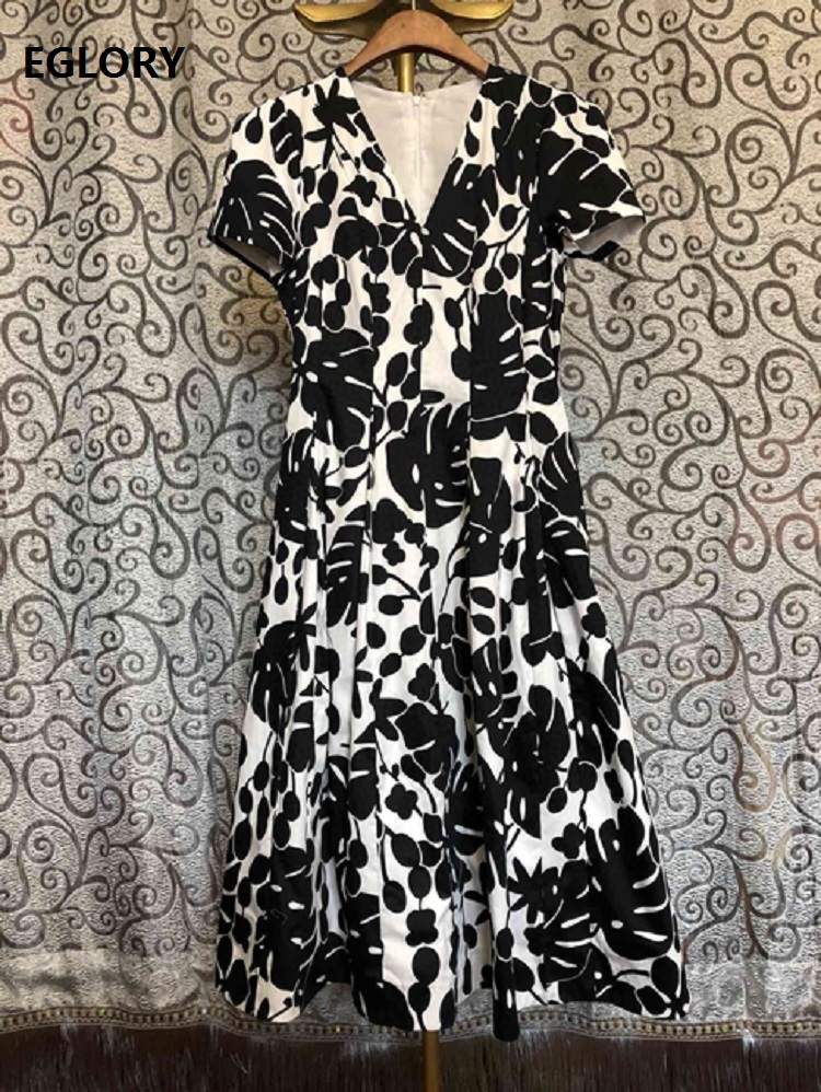 100%Cotton Dress 2020 Spring Summer Style Women V-Neck Black White Color Block Floral Print Short Sleeve Mid-Calf A-Line Dress
