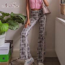 ArtSu Y2K Fashion Printing Flare Pants E-Girl Aesthetics High Waist Long Trousers Vintage Streetwear Casual Bottoms Slim PA52417