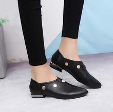 shoes women small pointed rivet single low heel black Korean version leather fashion metal
