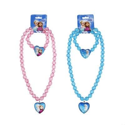 Elsa Anna Princess Beads Children's Necklace Bracelet Girls Birthday Party Gifts Pack Up Decorative Princess Dress Up S