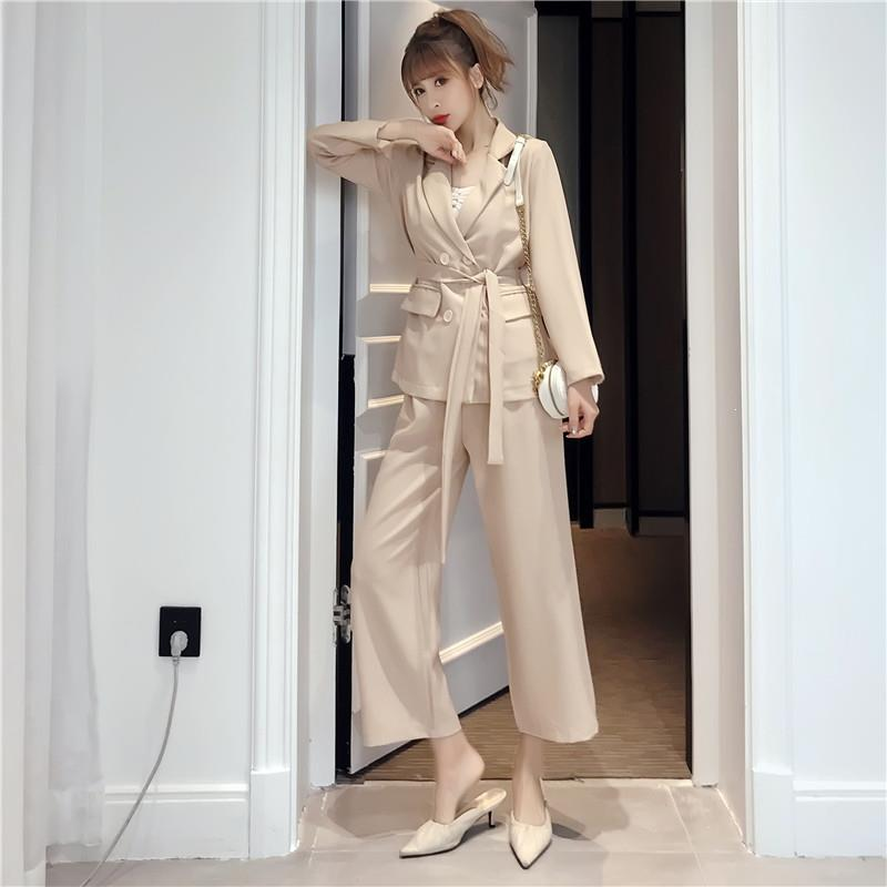 Autumn Winter Women Office Wear Pant Suit Office Lady Notched Female Blazer Jacket & Pant Lace Up Suits Sets