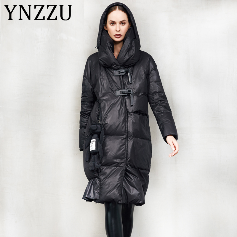 YNZZU High Quality 2019 Winter Collection Women's   Down   Jacket New Design Long 90% White Duck   Down     Coat   Women Warm Outwear A1238