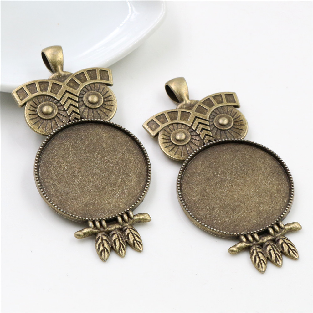 5pcs 30mm Inner Size Antique Bronze Owl Style Cabochon Base Setting Charms Pendant (B6-42)