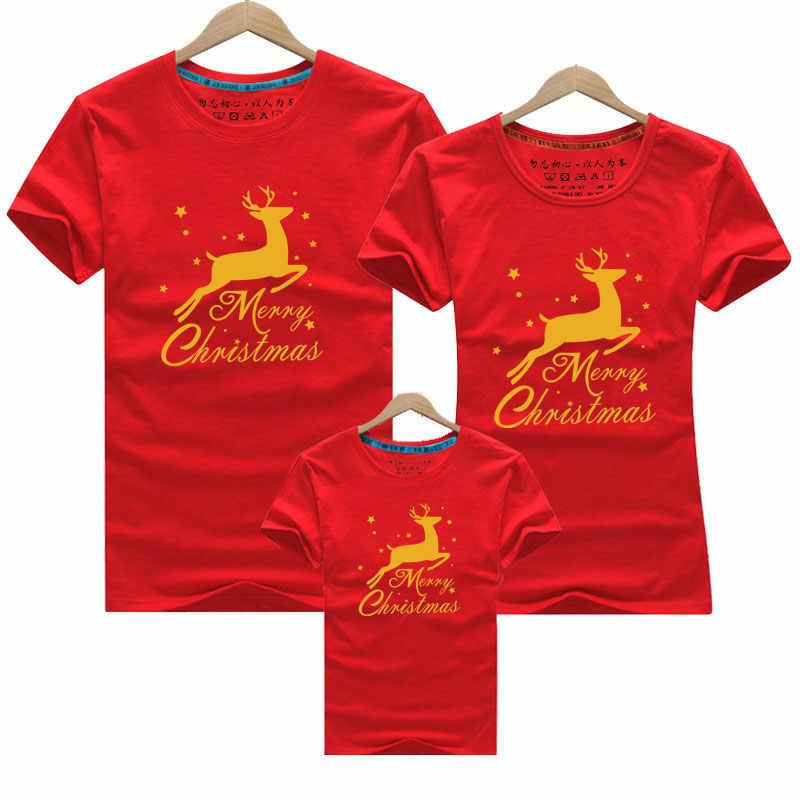 2019 Camiseta de algodón de ciervo de Navidad madre hija padre ropa de bebé juego de conjuntos de ropa familiar mirada familiar mamá y yo