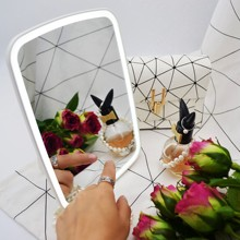 LED Touch Screen Rechargeable Makeup Mirror 90 Rotating Table Desktop Vanity Portable Lighted Cosmetic Hand