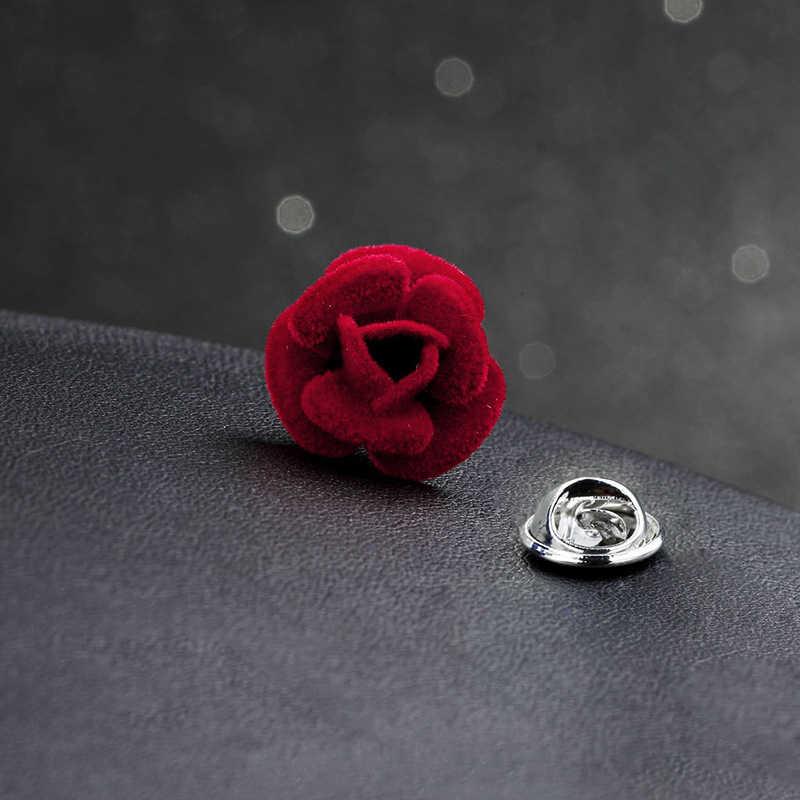 1 Pcs Elegan Bunga Mawar Merah Boutonni Bros untuk Laki-laki Lucu Bunga Kerah Pin dengan Kain Aksesoris Paduan Bros Pin perhiasan
