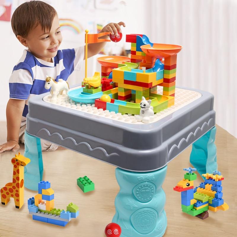 Big Size Compatible Duploed DIY Bricks Building Blocks Multi Functions Table Desk Base Plate Blocks Study Table For Children