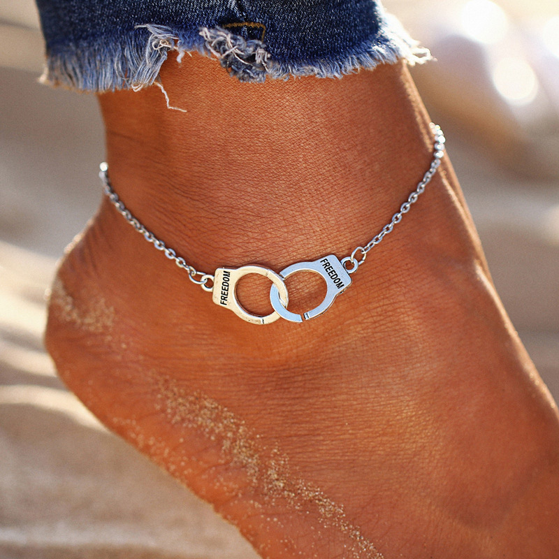Beach Anklets For Women Handcuffs Trendy Bohemian Foot bracelets for women Freedom Letters Nice Gift For Girls
