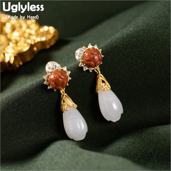 Uglyless Retro Carved Lotus Agate Earrings for Women Natural Jade Magnolia Flower Earrings Real 925 Silver Fine Jewelry E1887