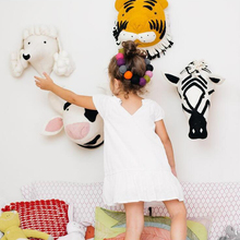 Kids Room Decoration 3D Animal Heads Wall Hanging Decor For Children Nursery Soft Install Game House
