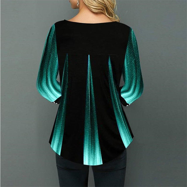 Shirt Women Spring Summer Blouse 3/4 Sleeve Casual 3D Gradient Printing Female Fashion Shirt Tops Plus Size 5XL StreetShirt 6