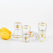 Gold foil glass spirit cup household white wine cup one goblet high foot cup bullet glass wine cup wine set gold foil base стакан mizu nixon wine cup set lock up glossy rose gold black print