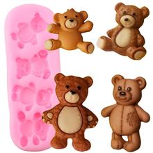 Cute Baby Bears Silicone Molds Polymer Clay Candy Chocolate Gumpaste Mold DIY Party Cupcake Topper Fondant Cake Decorating Tools