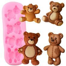 Sevimli bebek ayılar silikon kalıpları polimer kil şeker çikolata Gumpaste kalıp DIY parti kek Topper fondan kek dekorasyon araçları
