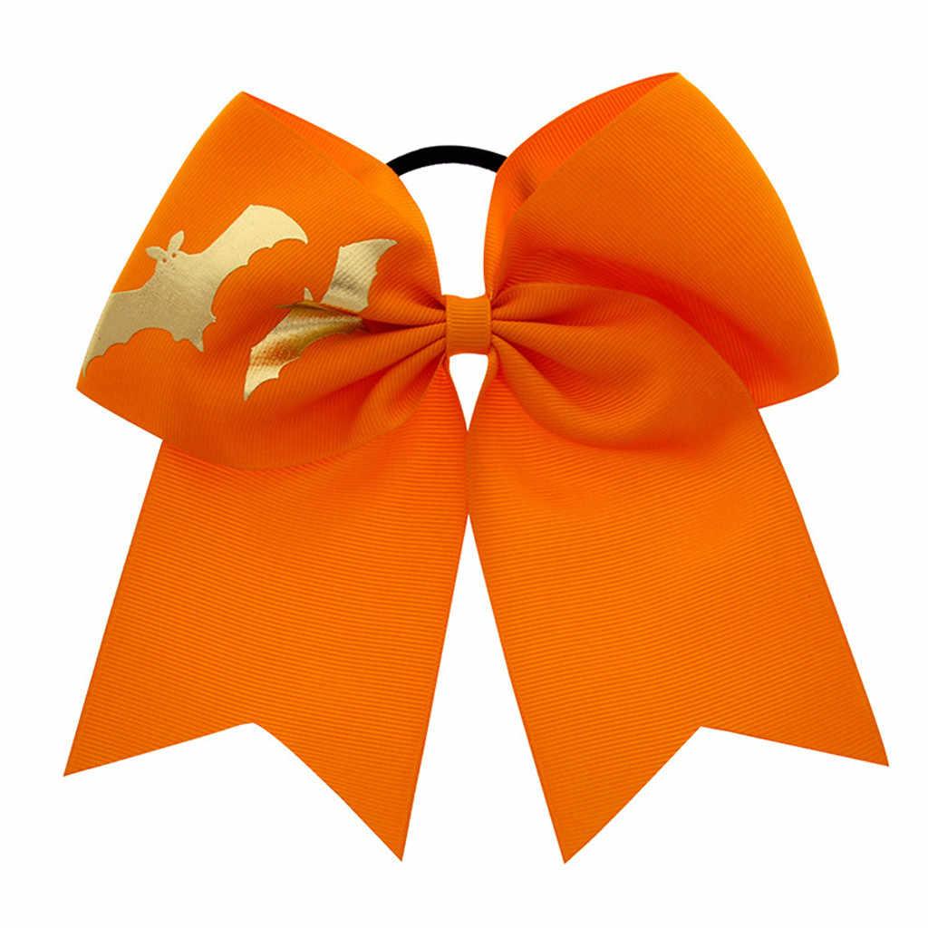 Halloween niños accesorio para bufandas para el cabello impresión gran arco elástico cabeza aro diadema para bebés (niñas) bandas de goma para el cabello cuerda