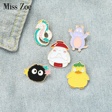 Movie Badge Brooches-Bag Jewelry-Gift Carrot Lapel-Pin Duck Dragon Childhood Spirit-World