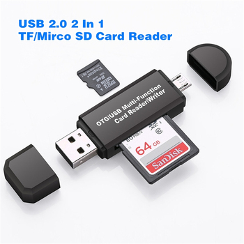 USB/Micro 2-in-1 OTG Card Reader USB2.0 High-speed Multi-Card Reader TF /SD Card For Smartphone Computer Extension Headers