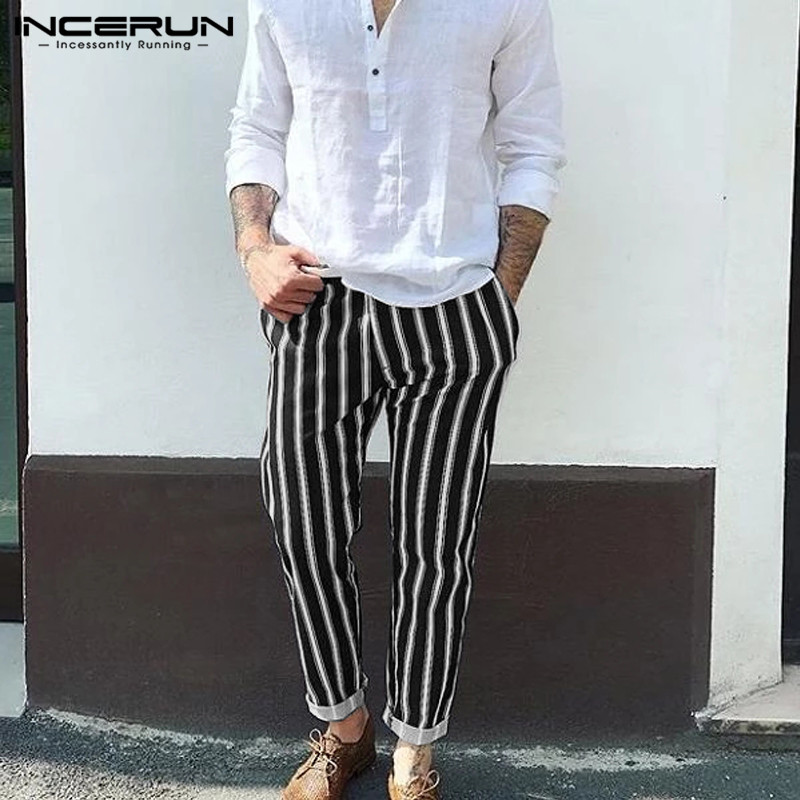 INCERUN Men Casual Striped Pants Elastic Waist 2020 Joggers Streetwear Fitness Trousers Men Fashion Leisure Workout Pants S-3XL