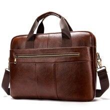 Bag Men Genuine Leather Briefcase Brand Business Crossbody Messenger Bags Male Laptop Bag Cowhide Briefcase Handbag  - buy with discount