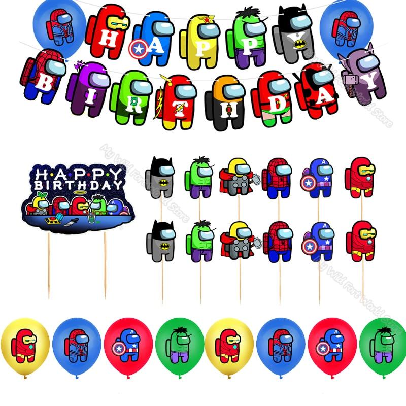 Игровую тематику предметы декора для вечеринок и дней рождения Amongs нас воздушные шары баннеры торт Топпер флаги для украшения Baby Shower шар по...