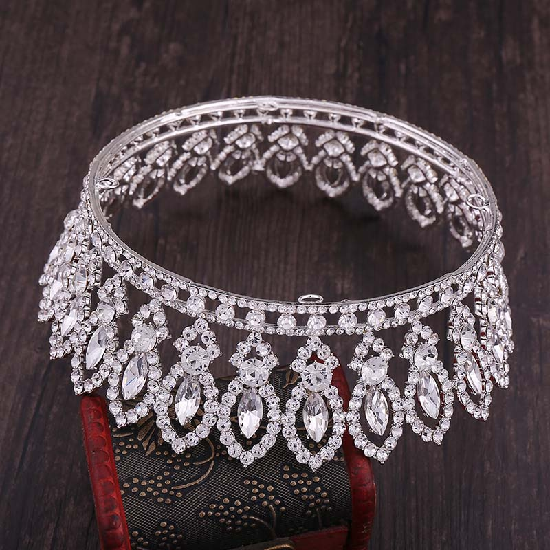 Image 4 - High Fashion Full Round Baroque Gold Blue Crystal Royal Princess Queen Diadem Tiaras Crowns for Bridal Bride Wedding PartyHair Jewelry   -