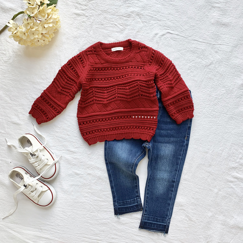 Cutemily Europe And America GIRL'S Sweater INS Hot Selling Girls Hollow Out Sweater