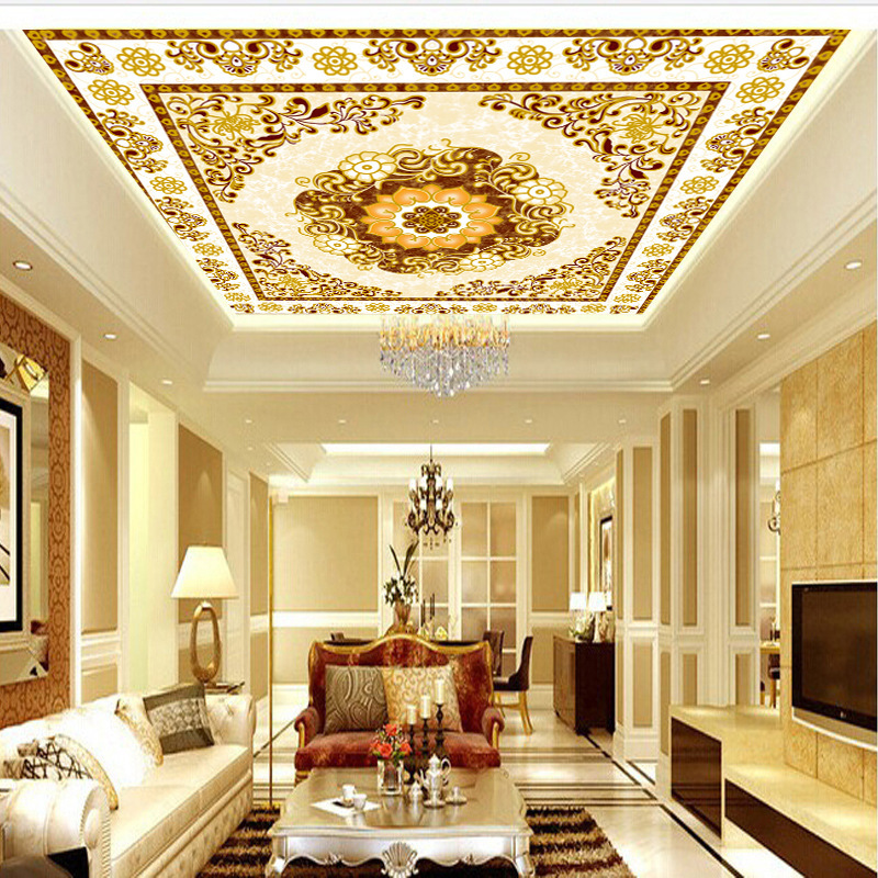 Seamless 3D Large Mural European Style Ceiling Wallpaper Living Room Bedroom Zenith Wallpaper Hotel KTV Ceiling Wall Cloth