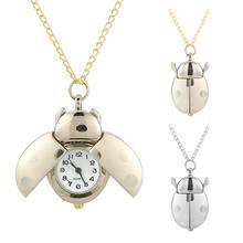 Серебро/золото Божья коровка жук карманные часы Винтаж металлическая